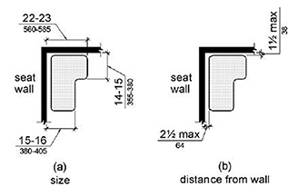 rectangular seats: the rear edge of a rectangular bench seat shall be 2 1/2  inches maximum and the front edge between 15-16 inches from the seat wall